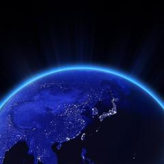 West Asia - China, Japan, Korea city lights at night