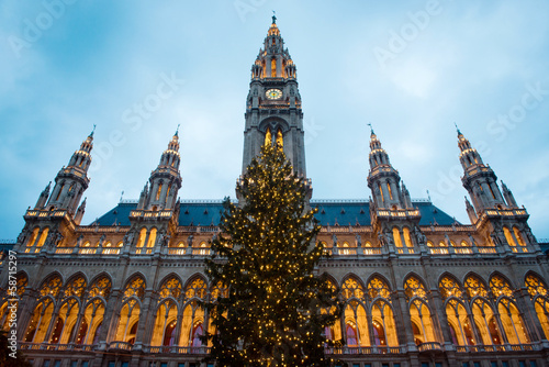 Christmas tree in front of Town Hall of Vienna, Austria