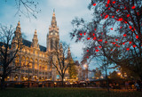 City Hall (Rathaus) in Vienna with Christmas market, Austria