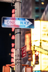 One way New York traffic sign