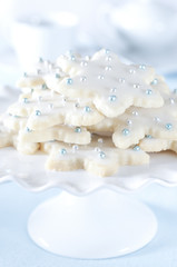 Closeup of a tray of holiday sugar cookies.