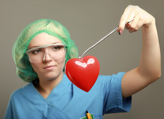 Female surgeon performing an operation on a heart patient