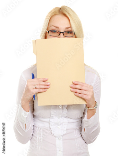 Young business woman with folder,isolated on white background