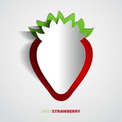 Paper strawberry cutout - vector illustration design card - EPS1