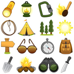Outdoor & camp icon set // Illustration