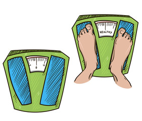 feet on weight scales. healthy weight. vector illustration.