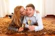 Happy Romantic couple on Rug