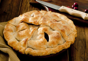 Closeup of homemade apple cranberry pie