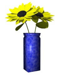 3D Illustration of Sunflowers in Vase on White