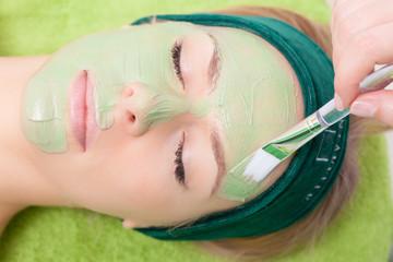 Beauty salon. Cosmetician applying facial mask at woman face.
