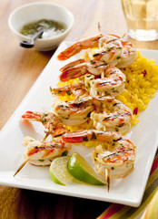 lime cilantro grilled shrimp with spicy saffron rice.