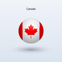 Canada round flag. Vector illustration.