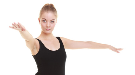 woman exercising jumping stretching dancing