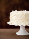 Closeup of a plain coconut cake.
