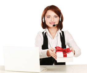 A customer service business woman with gift