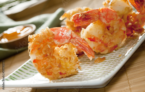 Closeup of coconut shrimp.