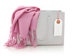 Pink scarf in shopping bag