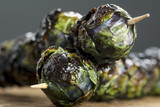 Grilled Purple Brussel Sprout Kabobs on Skewers