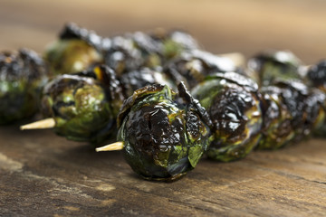 Grilled Purple Brussel Sprout Kabobson Skewers
