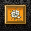 Gold Picture frame on the dark wallpaper, vector Eps10.