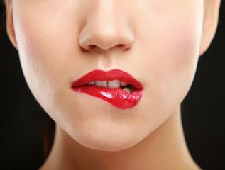Woman red lips closeup