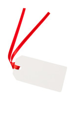 blank gift tag with red ribbon
