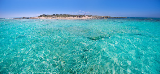 Formentera channel between Illetes and Espalmador island