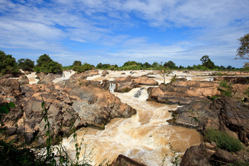 liphi water fall or mekong river in champasak southern of laos