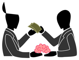 A person is selling his own brain to another person