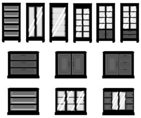 Sets of silhouette cabinets, create by vector