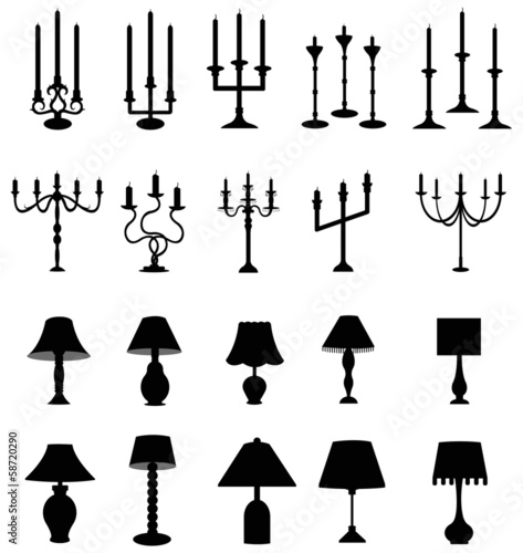 Sets of silhouette lamps and candlesticks, create by vector