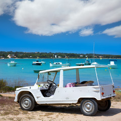 Formentera Estany des Peix with white convertible retro