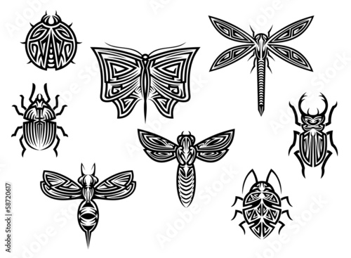 Tribal tattoos set with ornamental elements of insects