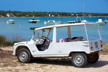 Formentera Estany des Peix with white convertible retro