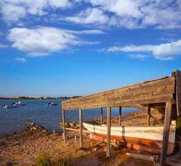 Beached boat in Estany des Peix at Formentera Balearic