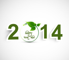 Happy New year 2014 green colorful background vector