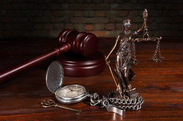 Lady Justice with brick wall