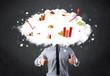 Modern business man with a graph cloud head
