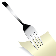 Steel fork with a sticker