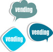 vending banner template. set of stickers, labels, tags, clouds