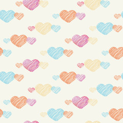 Heart seamless pattern on light background