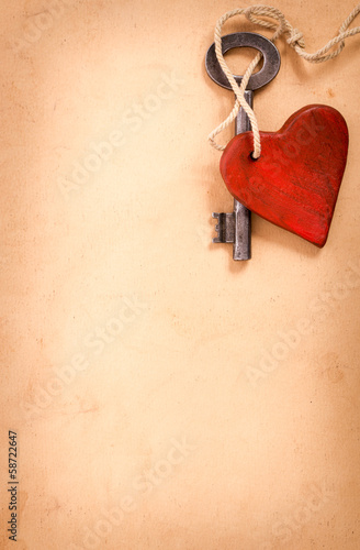 Old  key with a heart