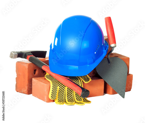 Bricks and masonry tools. Isolation.
