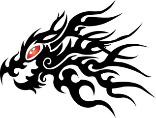 dragon head on white background