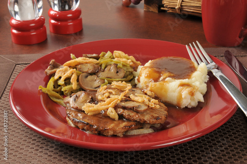 Salisbury steak with green bean casserole