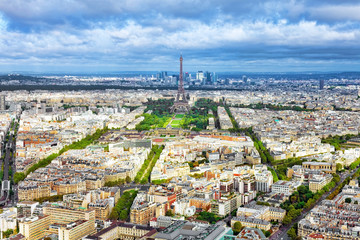 Panorama of Paris from the Montparnasse Tower. France(District