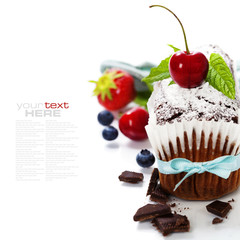 chocolate cake with fresh berry