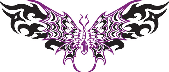 Violet and Black butterfly line art