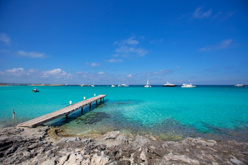 Formentera tropical Mediterranean sea wooden pier