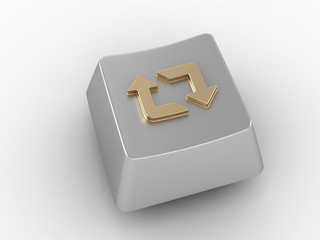 Keyboard key with gold loop arrows sign.